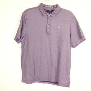 Travis Mathew Mens Golf Polo Shirt Solid Purple